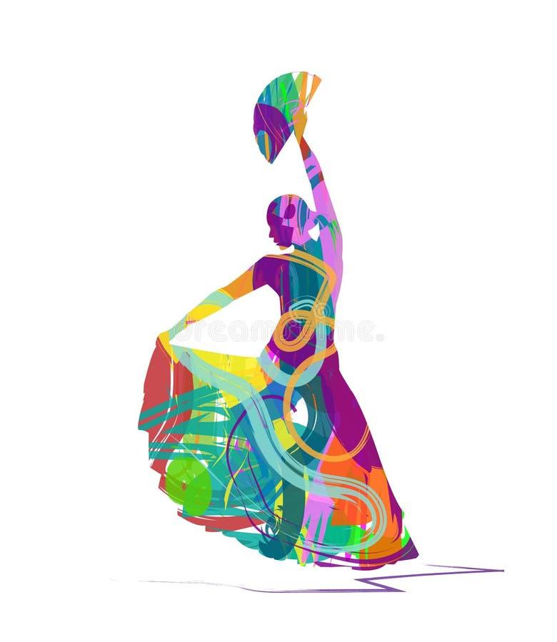Silhueta do dançarino do flamenco ilustração royalty free