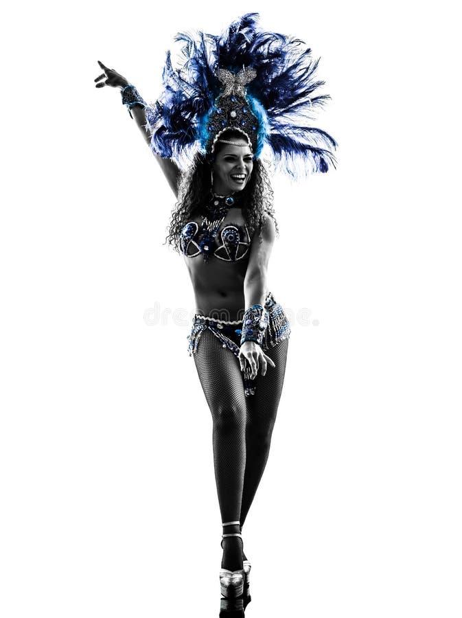 Silhueta do dançarino do samba da mulher imagem de stock