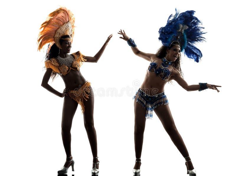 Silhueta do dançarino do samba das mulheres imagem de stock
