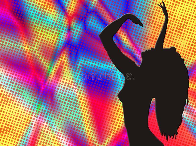 Silhueta do dançarino no fundo do colorfull ilustração do vetor