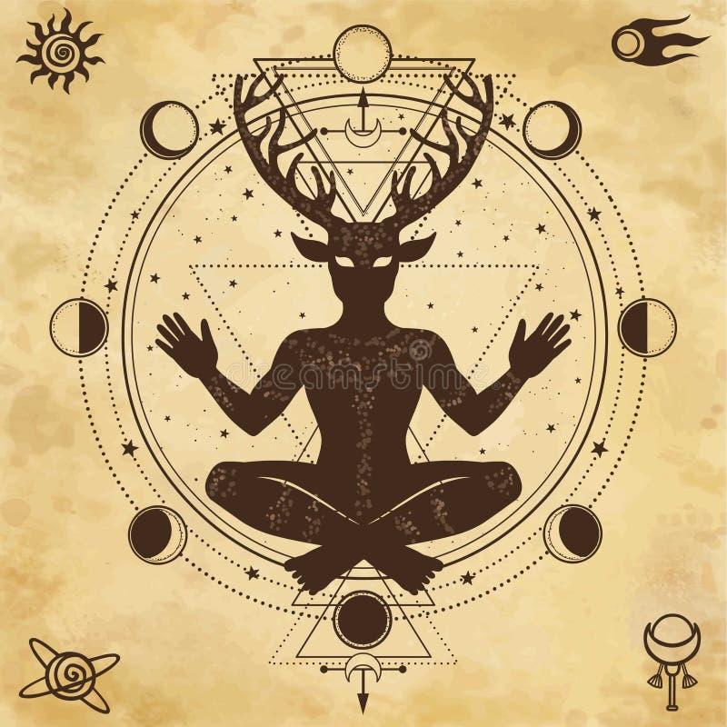 Silhueta do deus horned Cernunnos do assento ilustração do vetor