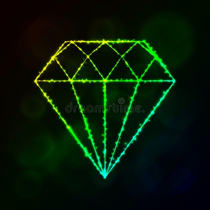 Silhueta do diamante das luzes ilustração do vetor