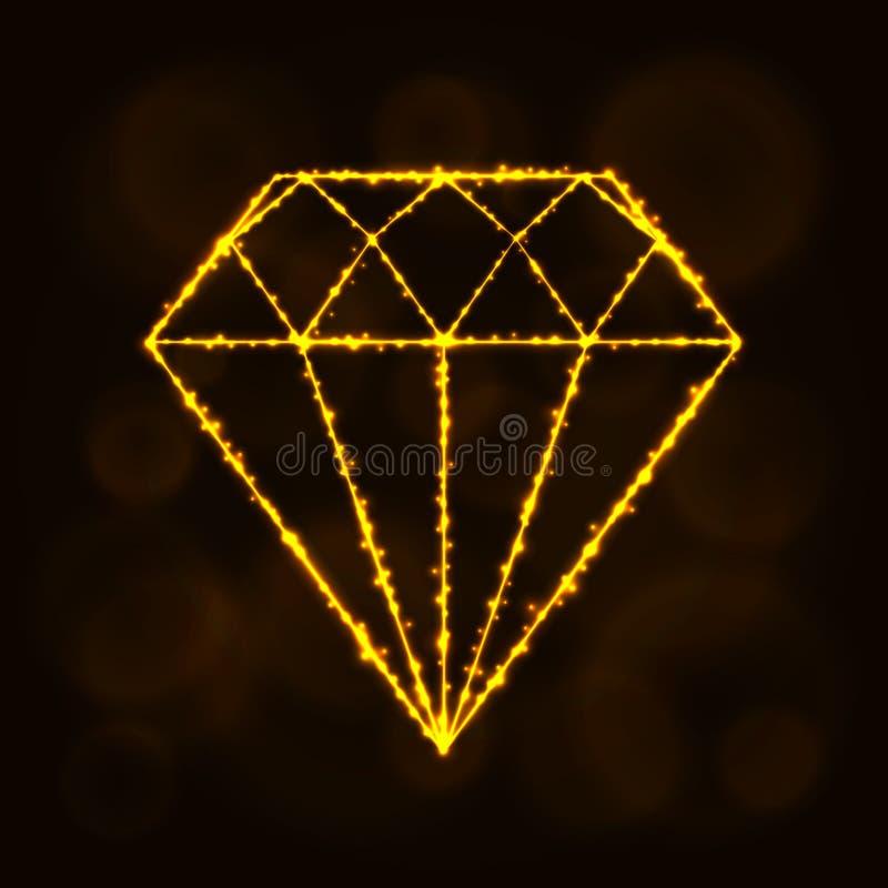 Silhueta do diamante das luzes ilustração stock