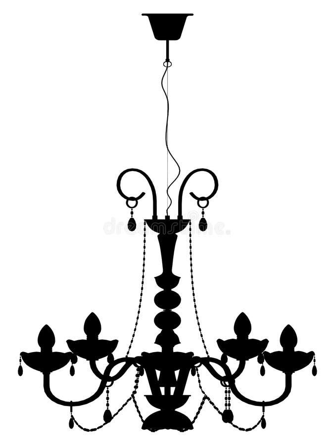 Silhueta do esboço da lâmpada do candelabro ilustração royalty free