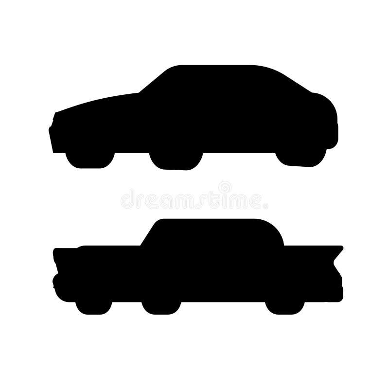 Silhueta do esporte e do carro retro Grupo preto e branco da ilustração do vetor ilustração royalty free