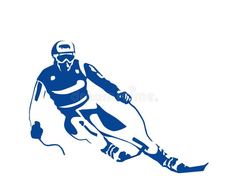 Silhueta do esquiador ilustração royalty free