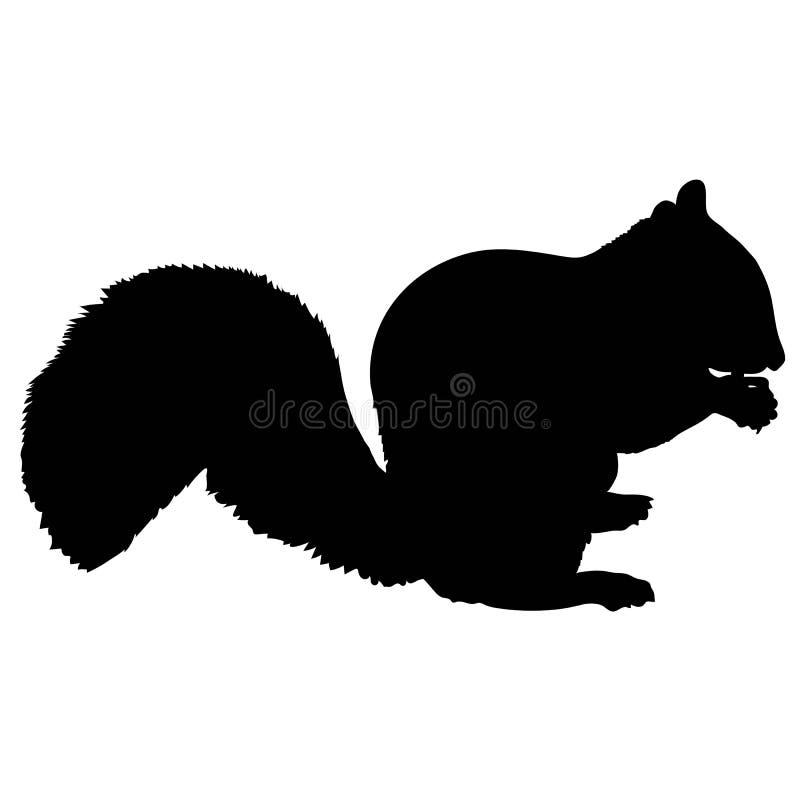 Silhueta do esquilo ilustração stock