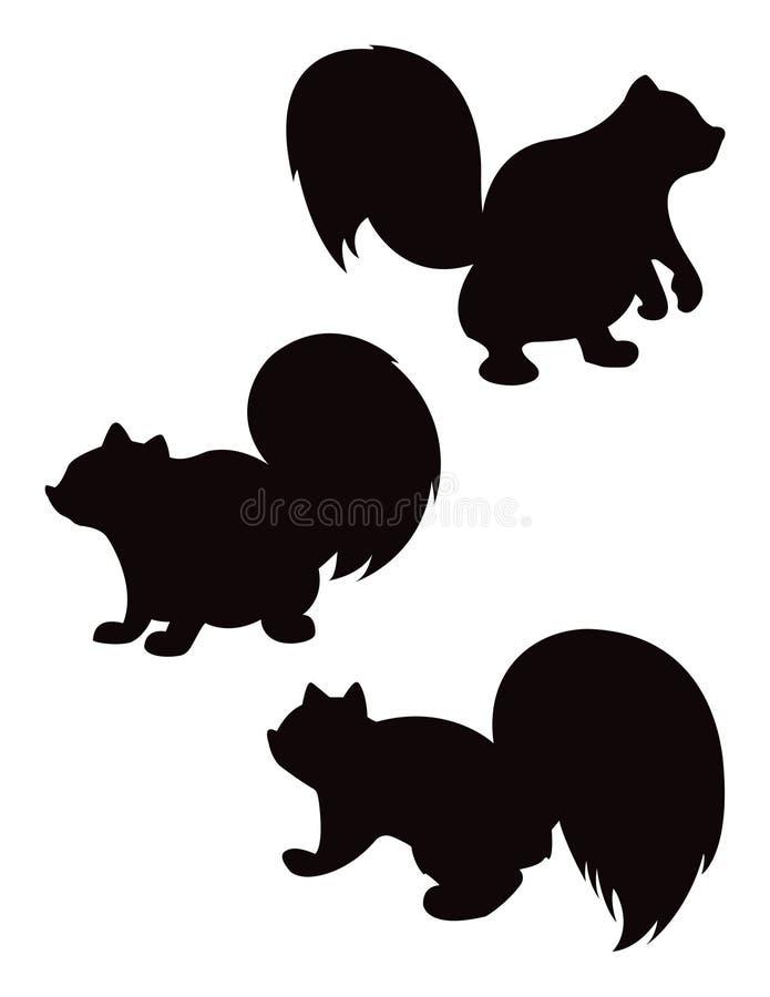 A silhueta do esquilo dos desenhos animados do vetor ajustou 2