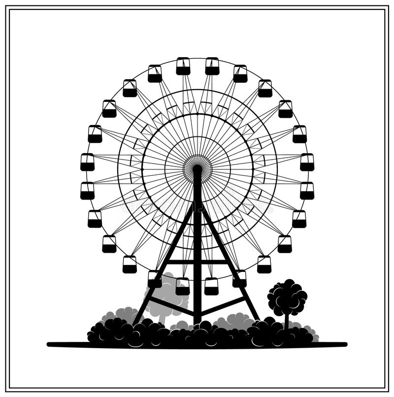 A silhueta do ferris roda dentro o parque ilustração stock