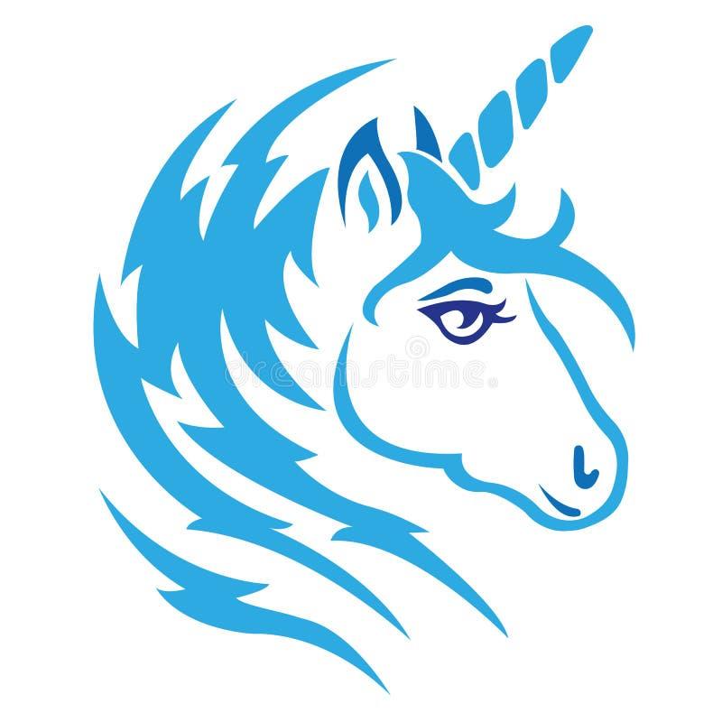 A silhueta do focinho é um unicórnio, pintado no azul, pintado com linhas e zigrags Logotipo do unicórnio animal mítico ilustração do vetor