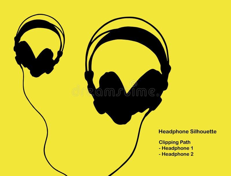 Silhueta do fones de ouvido do estúdio com trajeto de grampeamento ilustração do vetor