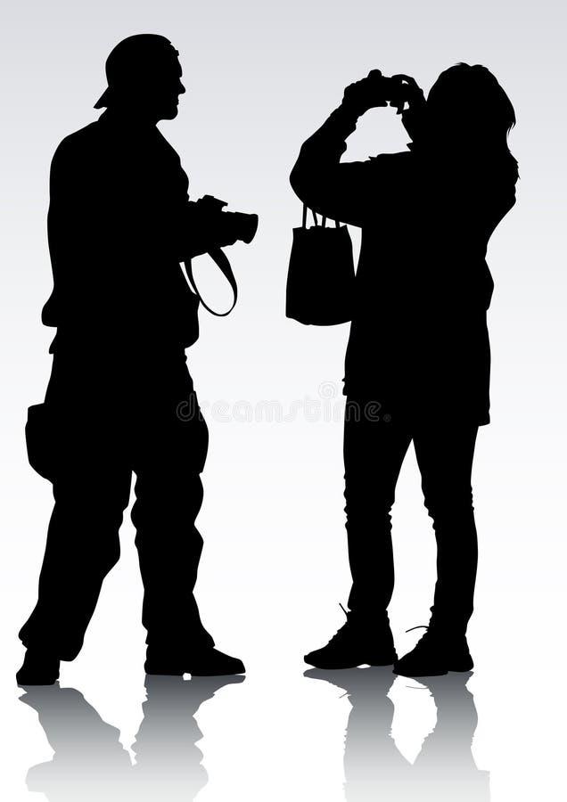 Silhueta do fotógrafo ilustração do vetor