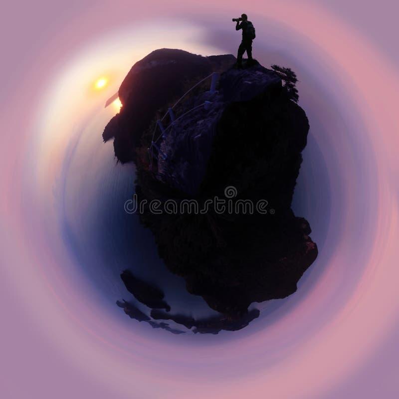 Silhueta do fotógrafo que está na montanha na ilha do arquipélago em Tailândia foto de stock royalty free