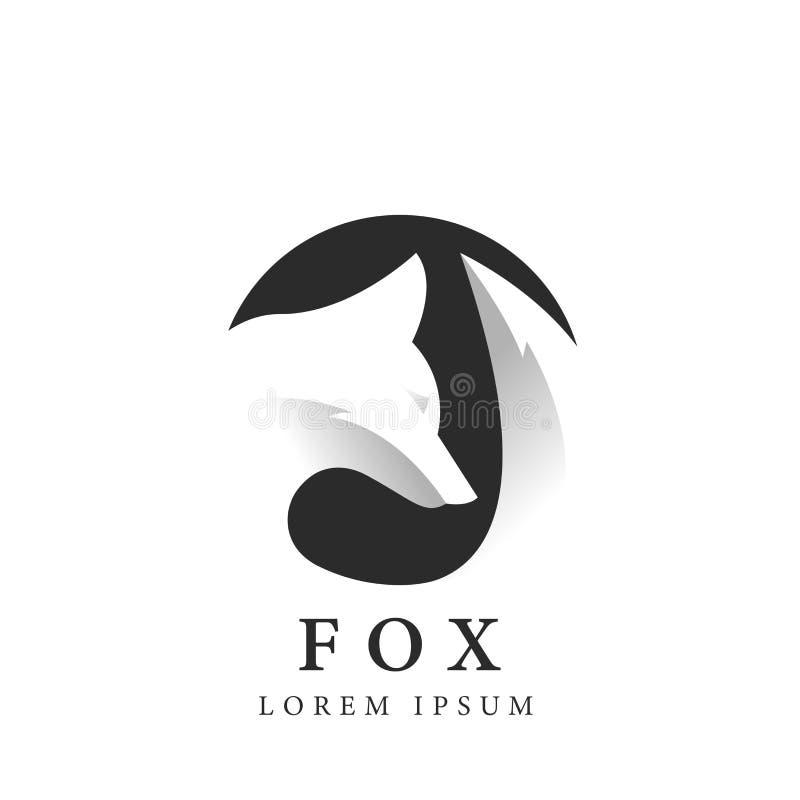Silhueta do Fox no círculo Símbolo creativo Espaço negativo Vetor ilustração do vetor