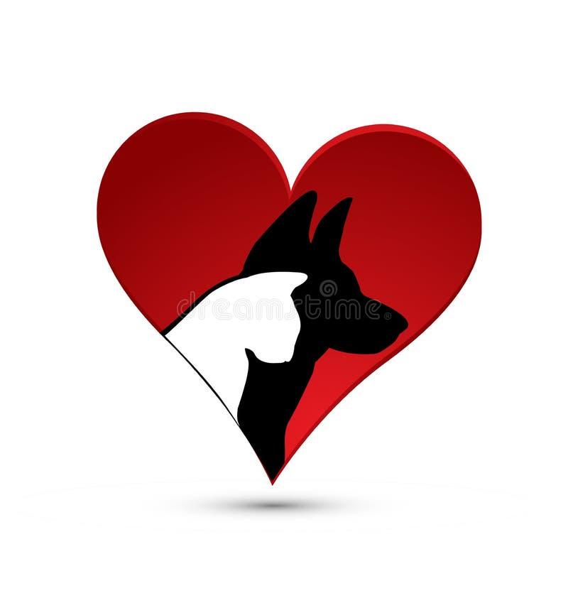 Silhueta do gato e do cão dentro do coração do amor, vetor do ícone ilustração do vetor