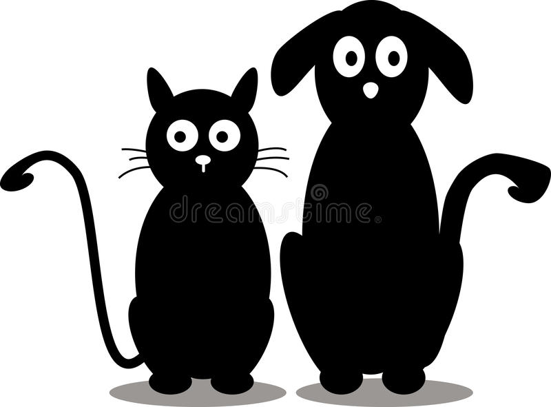 Silhueta do gato e do cão ilustração royalty free