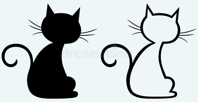 Silhueta do gato preto ilustração royalty free