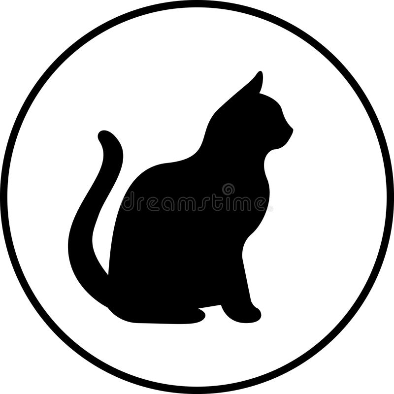 Silhueta do gato preto ilustração stock