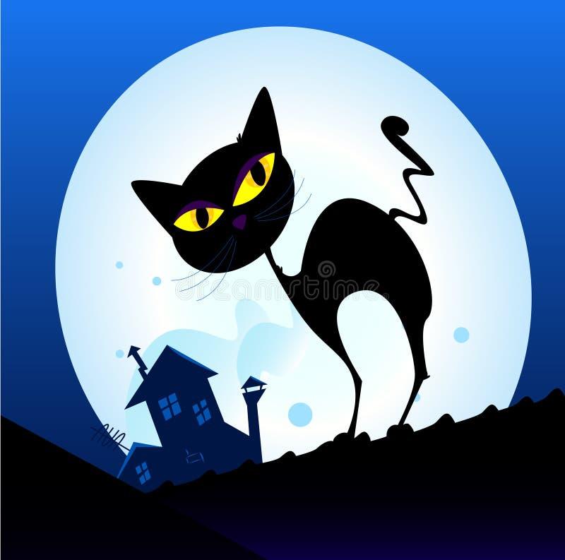 Silhueta do gato preto na cidade da noite ilustração stock
