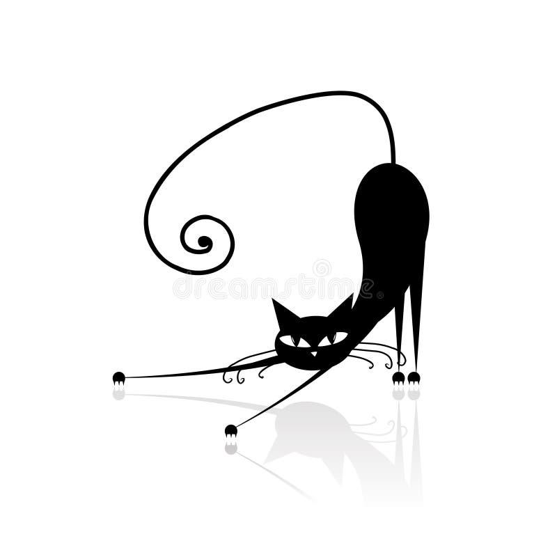 Silhueta do gato preto para seu projeto ilustração stock