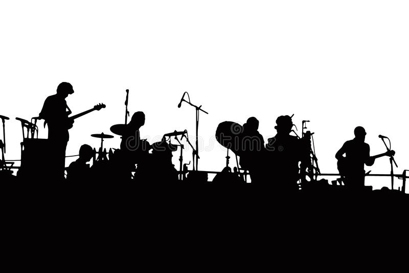 Silhueta do grupo de rock imagens de stock