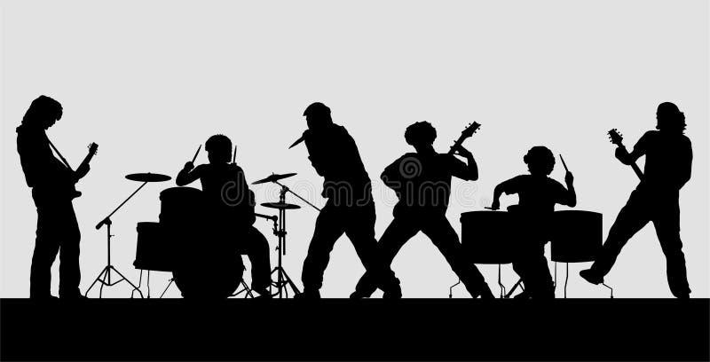 Silhueta do grupo de rock na fase ilustração royalty free