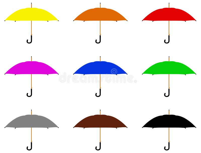 Silhueta do guarda-chuva ou do parasol - para proteger uma pessoa contra a chuva ou a luz solar ilustração do vetor