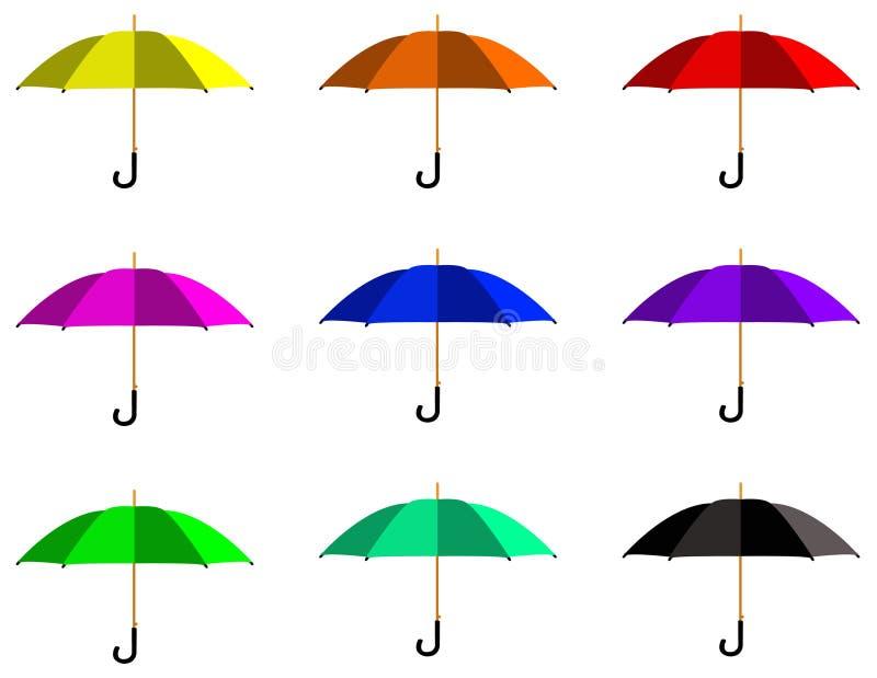 Silhueta do guarda-chuva ou do parasol - para proteger uma pessoa contra a chuva ou a luz solar ilustração stock