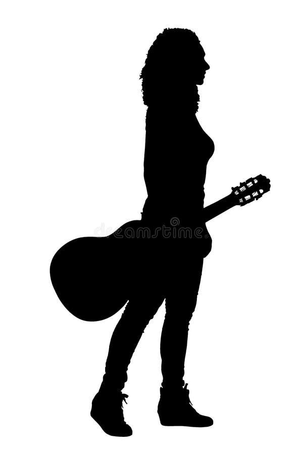 Silhueta do guitarrista fotos de stock