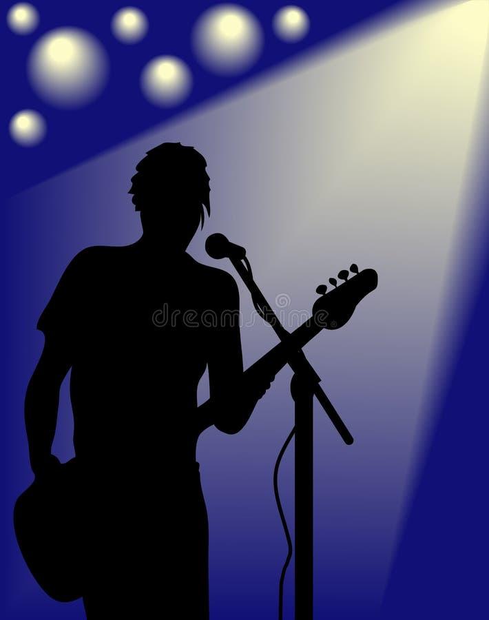 Silhueta do guitarrista do vetor ilustração do vetor