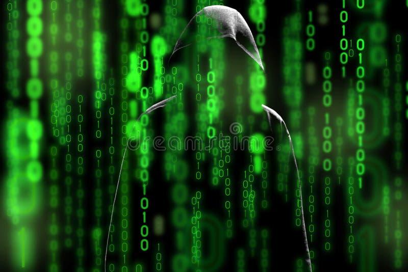 A silhueta do hacker de computador do homem encapuçado com segurança da tela e da rede dos dados binários denomina o tema da matr imagens de stock