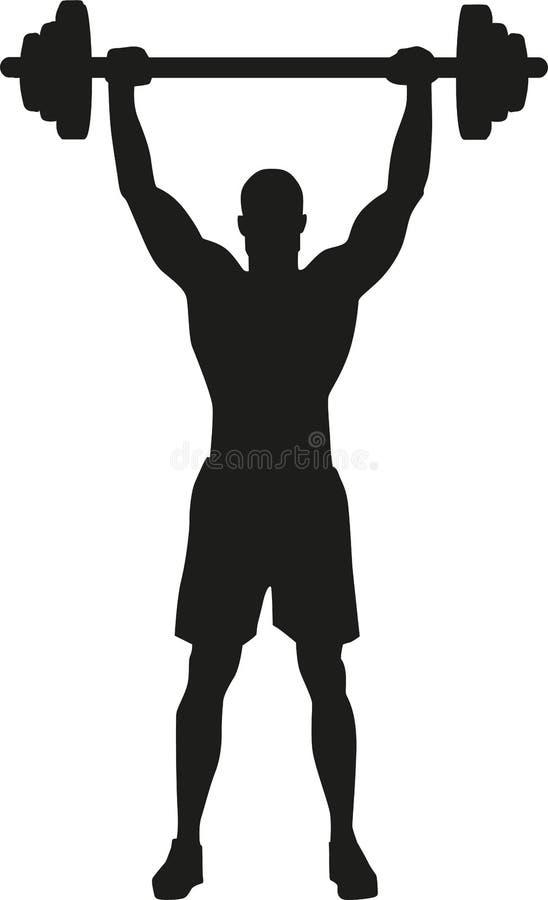 Silhueta do halterofilista do levantamento de peso ilustração stock