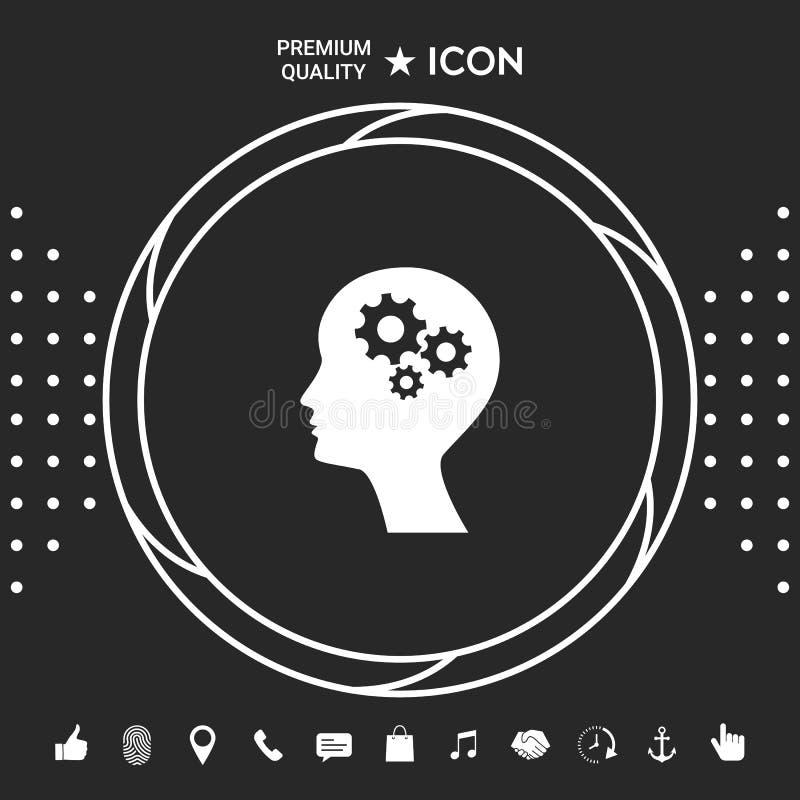 Silhueta do homem com ícone das engrenagens Elementos gráficos para seu designt ilustração royalty free