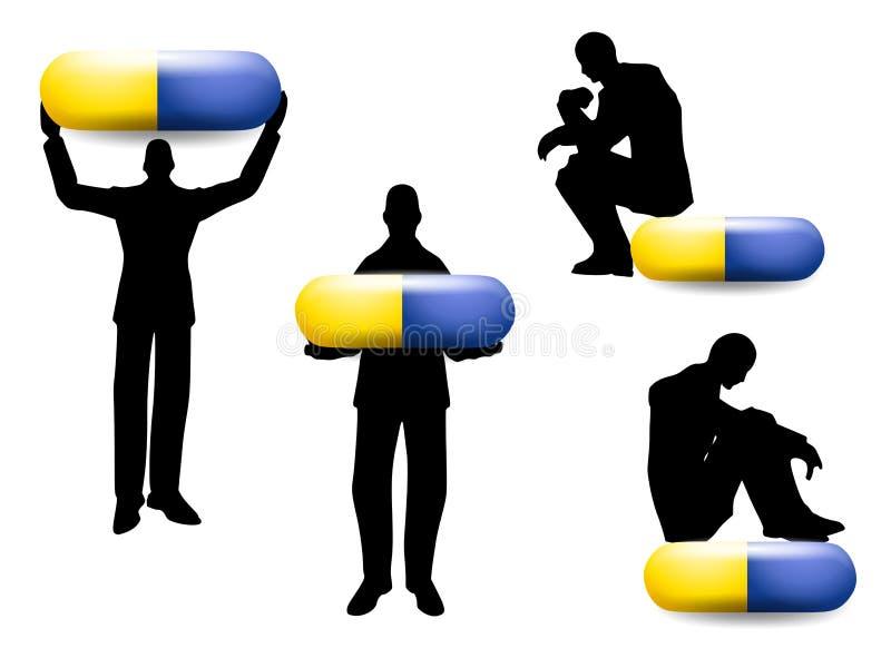 Silhueta do homem com cápsulas do comprimido ilustração do vetor