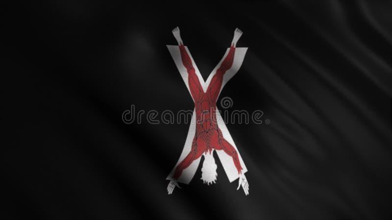Silhueta do homem crucificado na cruz x sem pele descrita no fundo da bandeira negra tornando-se animation emblema ilustração do vetor