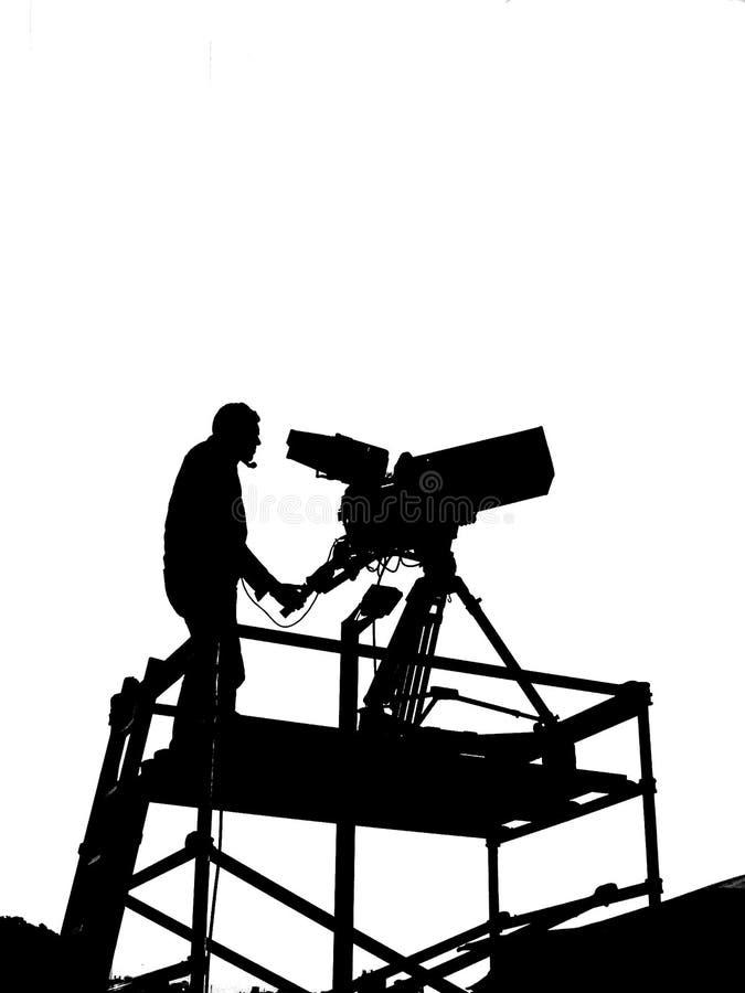 Silhueta do homem da câmera imagem de stock