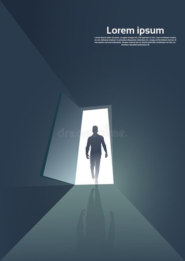 Silhueta do homem de negócio que está no conceito novo da oportunidade da entrada da porta ilustração do vetor