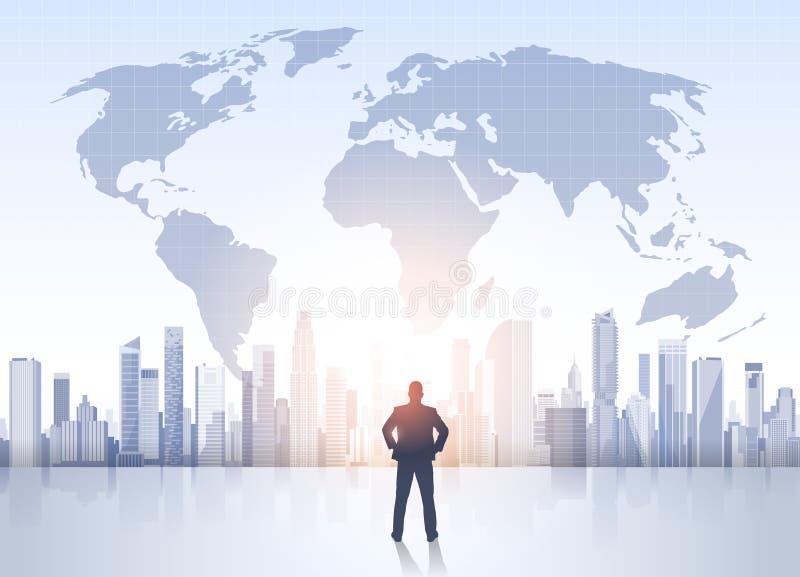 Silhueta do homem de negócio sobre prédios de escritórios modernos do mapa do mundo da paisagem da cidade ilustração stock