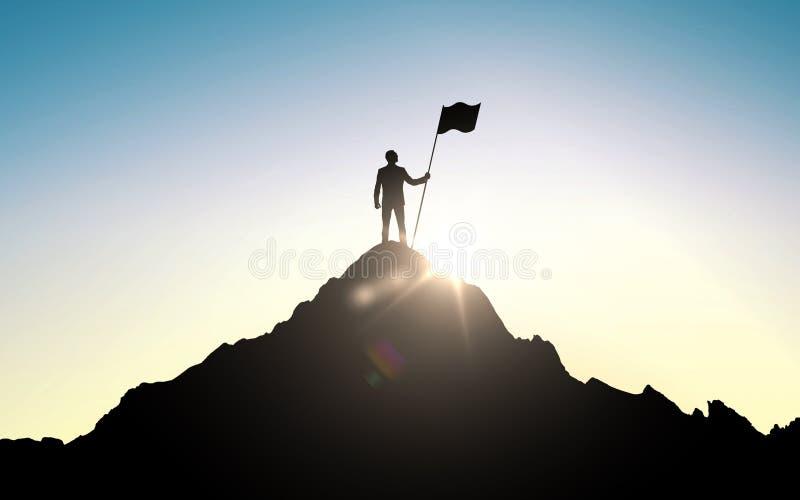 Silhueta do homem de negócios com a bandeira na montanha ilustração stock