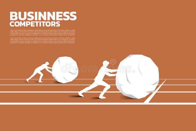 Silhueta do homem de negócios dois que empurra a rocha grande na trilha de competência ilustração do vetor