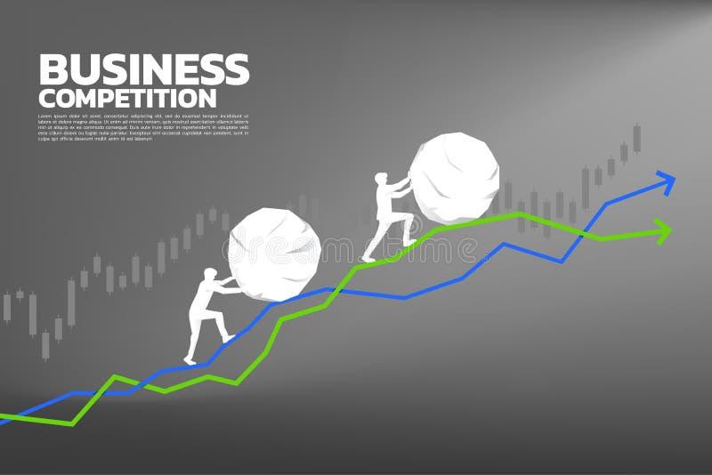 Silhueta do homem de negócios dois que empurra a rocha grande no gráfico do crescimento ilustração stock