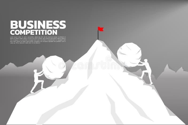 Silhueta do homem de negócios dois que empurra a rocha grande para a parte superior da montanha do local oposto ilustração royalty free