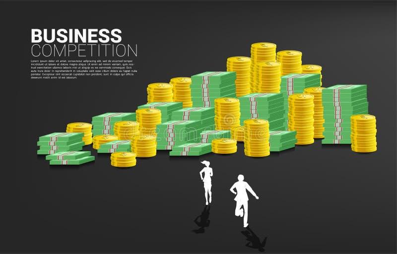 Silhueta do homem de negócios e da mulher de negócios que correm para empilhar da moeda ilustração stock