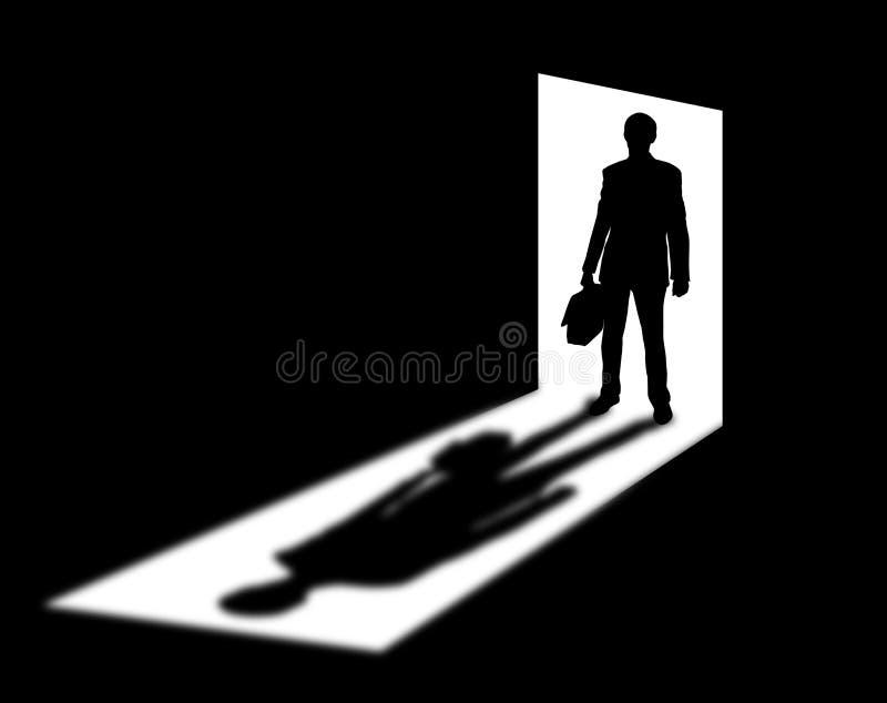 Silhueta do homem de negócios na entrada ilustração do vetor
