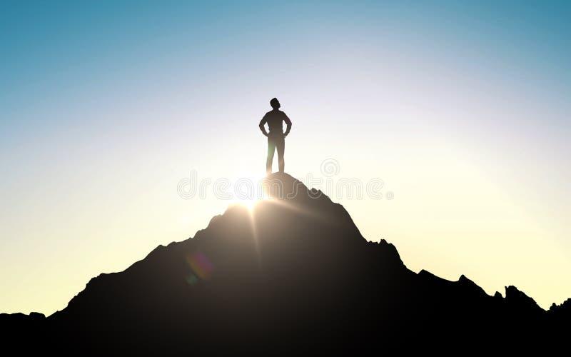 Silhueta do homem de negócios na parte superior da montanha ilustração do vetor