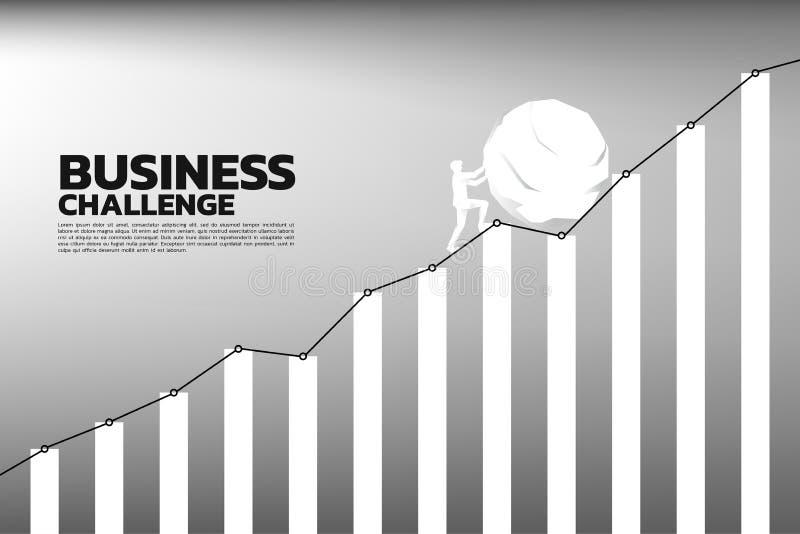 Silhueta do homem de negócios que empurra a rocha grande para o gráfico mais alto ilustração do vetor
