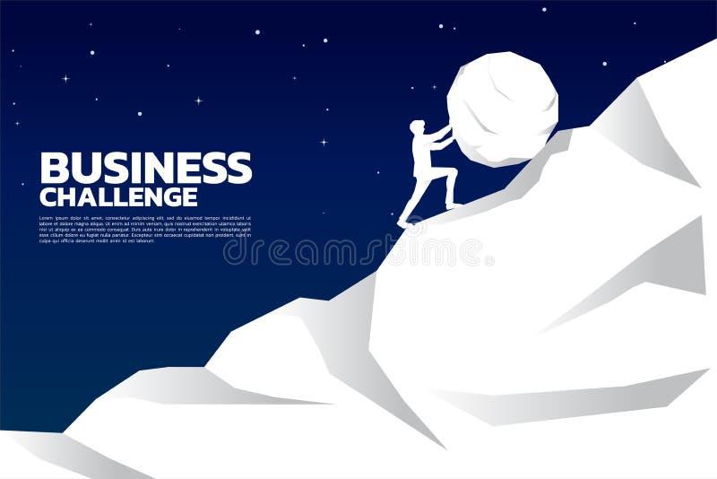 Silhueta do homem de negócios que empurra a rocha grande para a parte superior da montanha ilustração do vetor