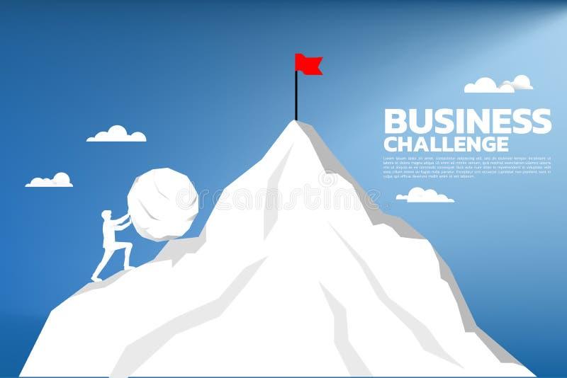 Silhueta do homem de negócios que empurra a rocha grande para a parte superior da montanha ilustração royalty free