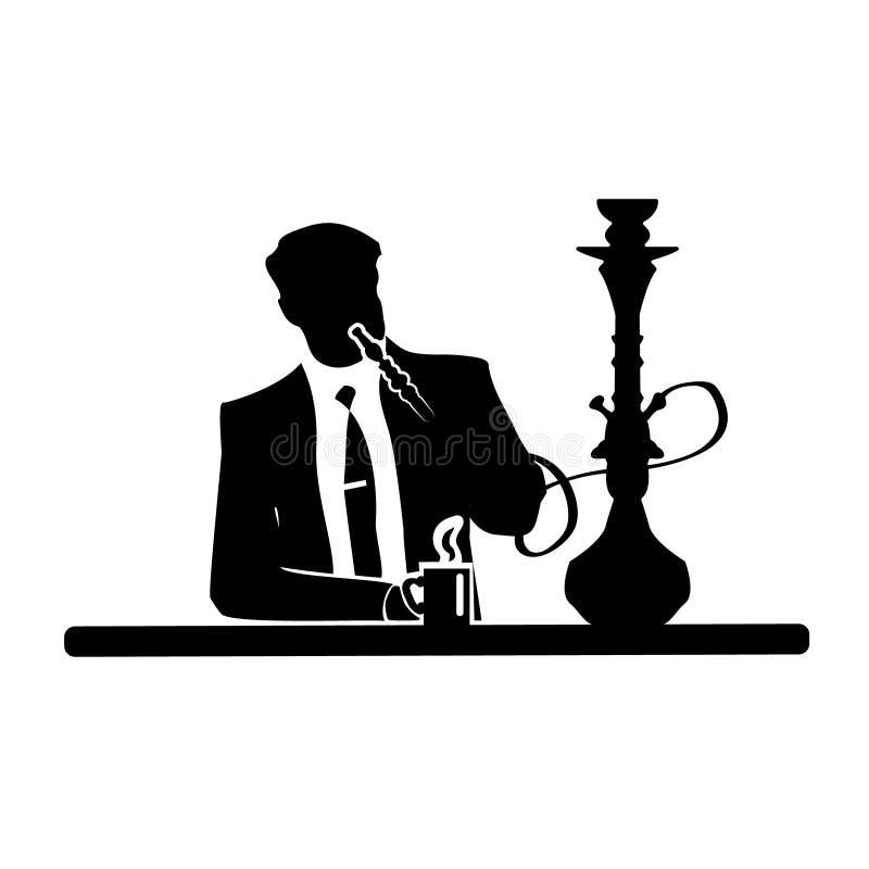 Silhueta do homem de negócios de um homem em um terno e em um laço que descansam em uma poltrona confortável com cachimbo de água ilustração royalty free