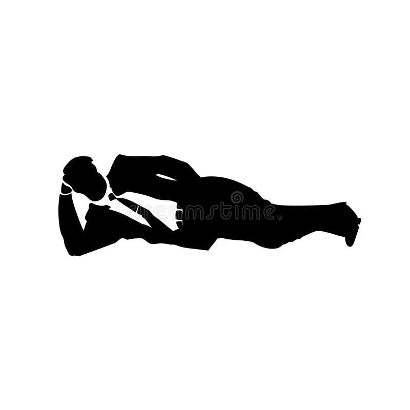 Silhueta do homem de negócios de uma sesta do homem no armário Vetor relaxado do negócio para o cartão, anúncio, promoção, cartaz ilustração royalty free